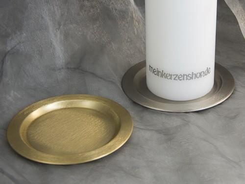kerzenteller kerzenst nder kerzenhalter f r hochzeitskerze taufkerze silber oder gold 16626. Black Bedroom Furniture Sets. Home Design Ideas