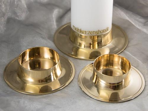 kerzenteller kerzenst nder kerzenhalter f r hochzeitskerze taufkerze gold poliert 16640. Black Bedroom Furniture Sets. Home Design Ideas